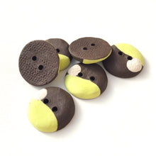 "Load image into Gallery viewer, Chartreuse - Color Contrast Clay Buttons - Black Clay Ceramic Buttons - 3/4"" - 6 Pack"