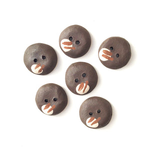 "Contemporary Ceramic Buttons - Black Clay Buttons - 3/4"" - 6 Pack"