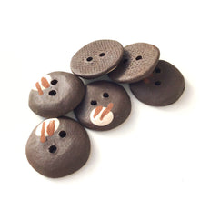 "Load image into Gallery viewer, Contemporary Ceramic Buttons - Black Clay Buttons - 3/4"" - 6 Pack"