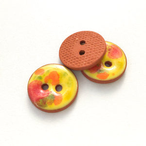 "Yellow + Red + Orange Color Splash Buttons on Terracotta Clay - 11/16"" - 3 Pack"