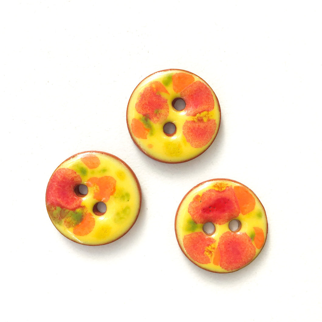 Yellow + Red + Orange Color Splash Buttons on Terracotta Clay - 11/16