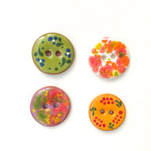 "Load image into Gallery viewer, Mixed Pack - Flowers & Color Splash Ceramic Buttons - 11/16"" - 4 Pack"