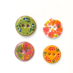 "Mixed Pack - Flowers & Color Splash Ceramic Buttons - 11/16"" - 4 Pack"