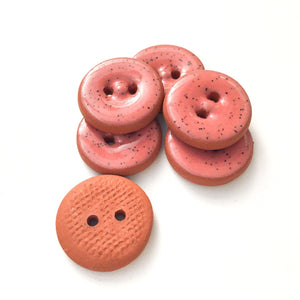 "Speckled Earthy Pink Ceramic Buttons on Red Clay - Round Ceramic Buttons - 11/16"" - 6 Pack"