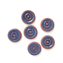 "Load image into Gallery viewer, Navy Blue Ceramic Buttons on Red Clay - Round Ceramic Buttons - 3/4"" - 6 Pack"