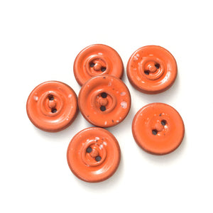"Speckled Orange Ceramic Buttons on Red Clay - Round Ceramic Buttons - 3/4"" - 6 Pack (ws-226)"