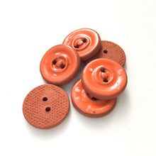 "Load image into Gallery viewer, Speckled Orange Ceramic Buttons on Red Clay - Round Ceramic Buttons - 3/4"" - 6 Pack"