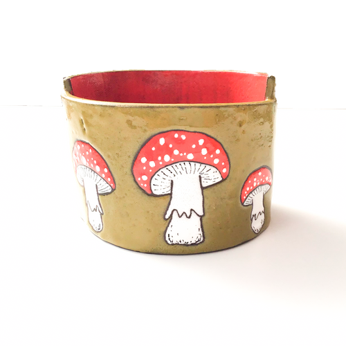 Fly Agaric Ceramic Planter (Amanita muscaria) - Mushroom Pottery Bowl