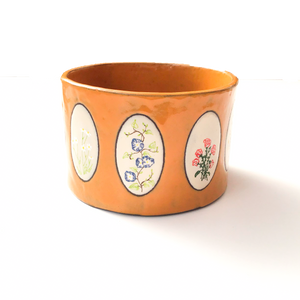 Ceramic Wildflower Planter - Hand Painted Flowers Pottery Bowl