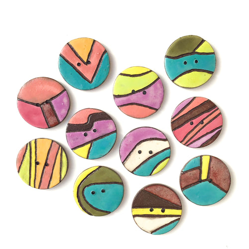 Crazy Quilt Colorful Ceramic Buttons - Contemporary Ceramic Buttons - 1 3/8