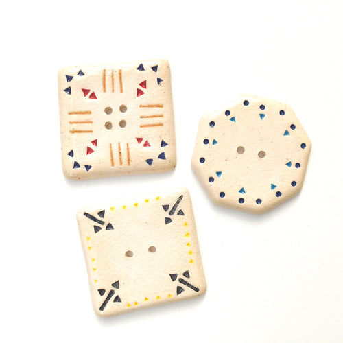 Large Stamped Ceramic Buttons - Southwestern Style Ceramic Buttons - 1 1/2