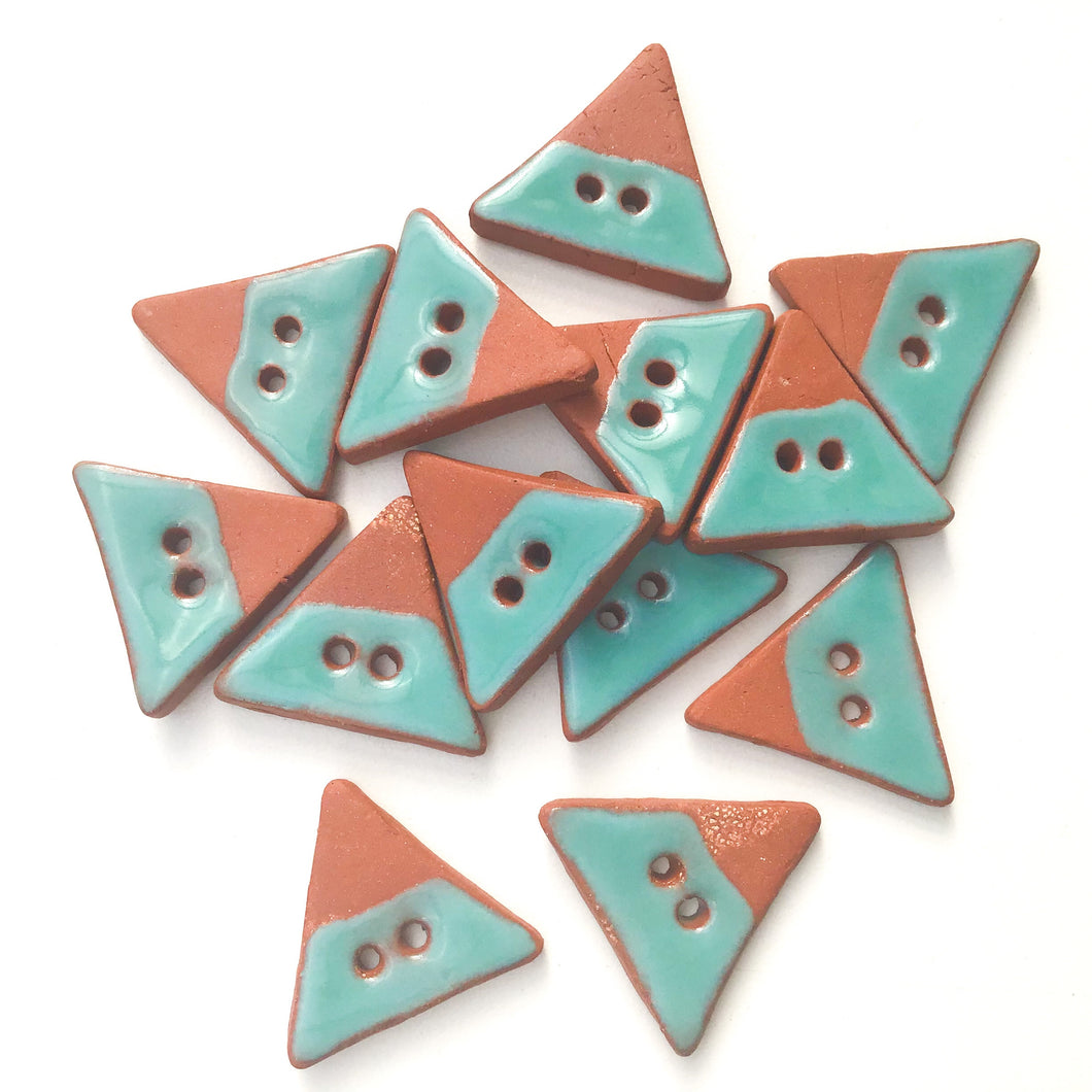 Triangular Ceramic Buttons - Turquoise on Red Clay Buttons - 7/8