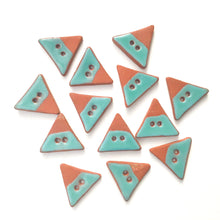 "Load image into Gallery viewer, Triangular Ceramic Buttons - Turquoise on Red Clay Buttons - 7/8"" x 1"""