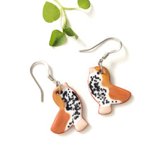 Load image into Gallery viewer, Ceramic Wood Thrush Earrings - Clay Bird Earrings