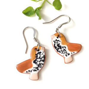 Ceramic Wood Thrush Earrings - Clay Bird Earrings
