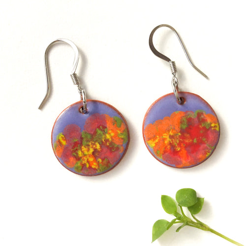Blooming Colors Earrings on Red Clay - Purple + Orange, Yellow, Red, Green