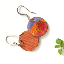 Load image into Gallery viewer, Blooming Colors Earrings on Red Clay - Purple + Orange, Yellow, Red, Green