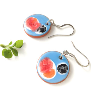 Blooming Colors Earrings on Red Clay -Cerulean Blue + Orange, Red, Black, White