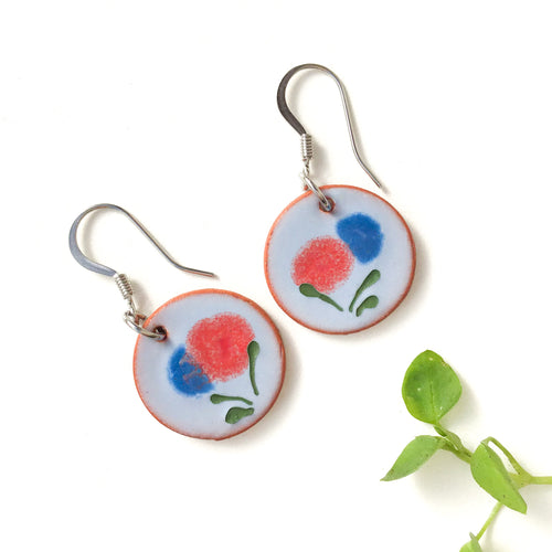 Blooming Red & Blue Flower Earrings on Red Clay