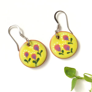 Field of Flowers on Red Clay - Chartreuse & Purple Ceramic Flower Earrings