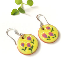 Load image into Gallery viewer, Field of Flowers on Red Clay - Chartreuse & Purple Ceramic Flower Earrings