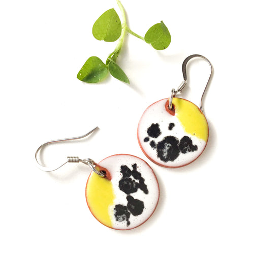 Color Contrast Earrings on Red Clay - Chartreuse + Black & White Ceramic Earrings
