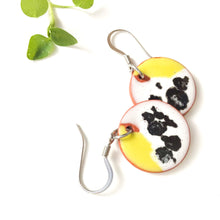 Load image into Gallery viewer, Color Contrast Earrings on Red Clay - Chartreuse + Black & White Ceramic Earrings