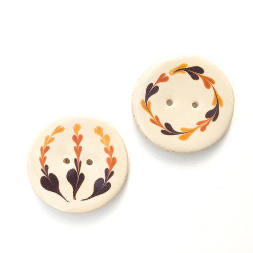 Earthy Brown Floral Clay Button - Decorative Ceramic Button - 1 3/8