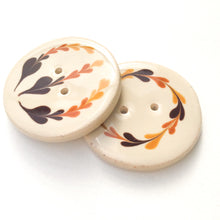 Load image into Gallery viewer, Earthy Brown Floral Clay Button - Decorative Ceramic Button - 1 3/8""