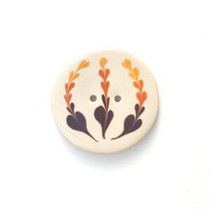 Earthy Brown Floral Clay Button - Decorative Ceramic Button - 1 3/8""