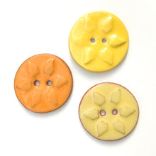 Load image into Gallery viewer, Sunshine Stamp Buttons - Orange & Yellow Sun Ceramic Buttons - 1 3/8""