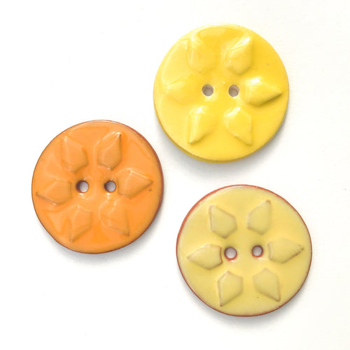 Sunshine Stamp Buttons - Orange & Yellow Sun Ceramic Buttons - 1 3/8