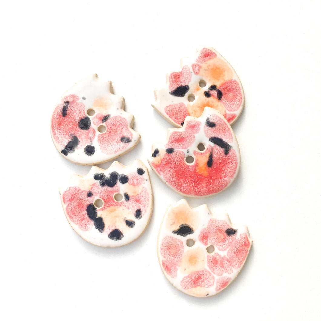 Flower Shaped Ceramic Buttons in Red, Orange, & Black - 7/8