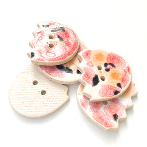 "Flower Shaped Ceramic Buttons in Red, Orange, & Black - 7/8"" x 15/16"" - 5 Pack"