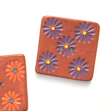 Load image into Gallery viewer, Hand Stamped Daisy Button on Red Clay - 1 7/16""