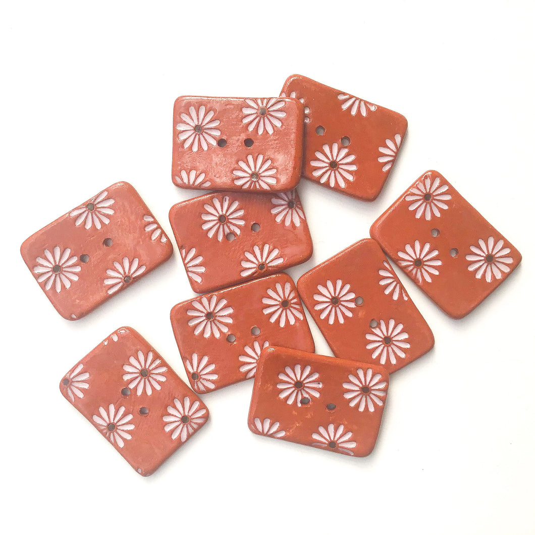 Hand Stamped Daisy Button on Red Clay - Light Pink Flower Buttons - 1 1/16