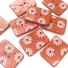 "Load image into Gallery viewer, Hand Stamped Daisy Button on Red Clay - Light Pink Flower Buttons - 1 1/16"" x 1 7/16"""
