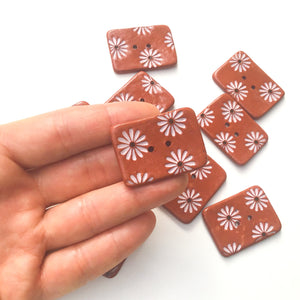 "Hand Stamped Daisy Button on Red Clay - Light Pink Flower Buttons - 1 1/16"" x 1 7/16"""
