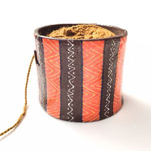 Colorful Tribal Print on Black Clay Yarn Bowl