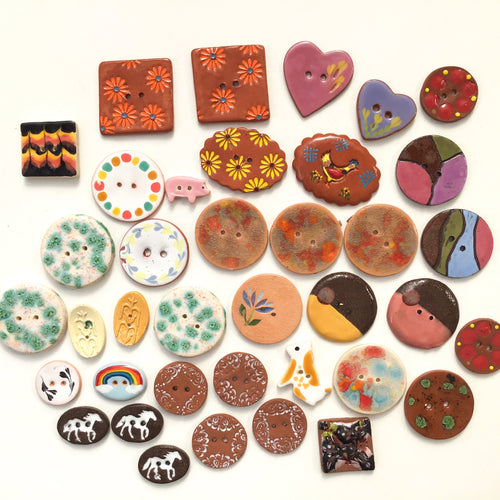 {RESERVED LISTING} DISCOUNTED**Mixed Lot (38 count) of Irregular Ceramic Buttons - Size Range - 3/8