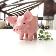 Load image into Gallery viewer, Little Pink Pig Pot - Ceramic Pig Planter