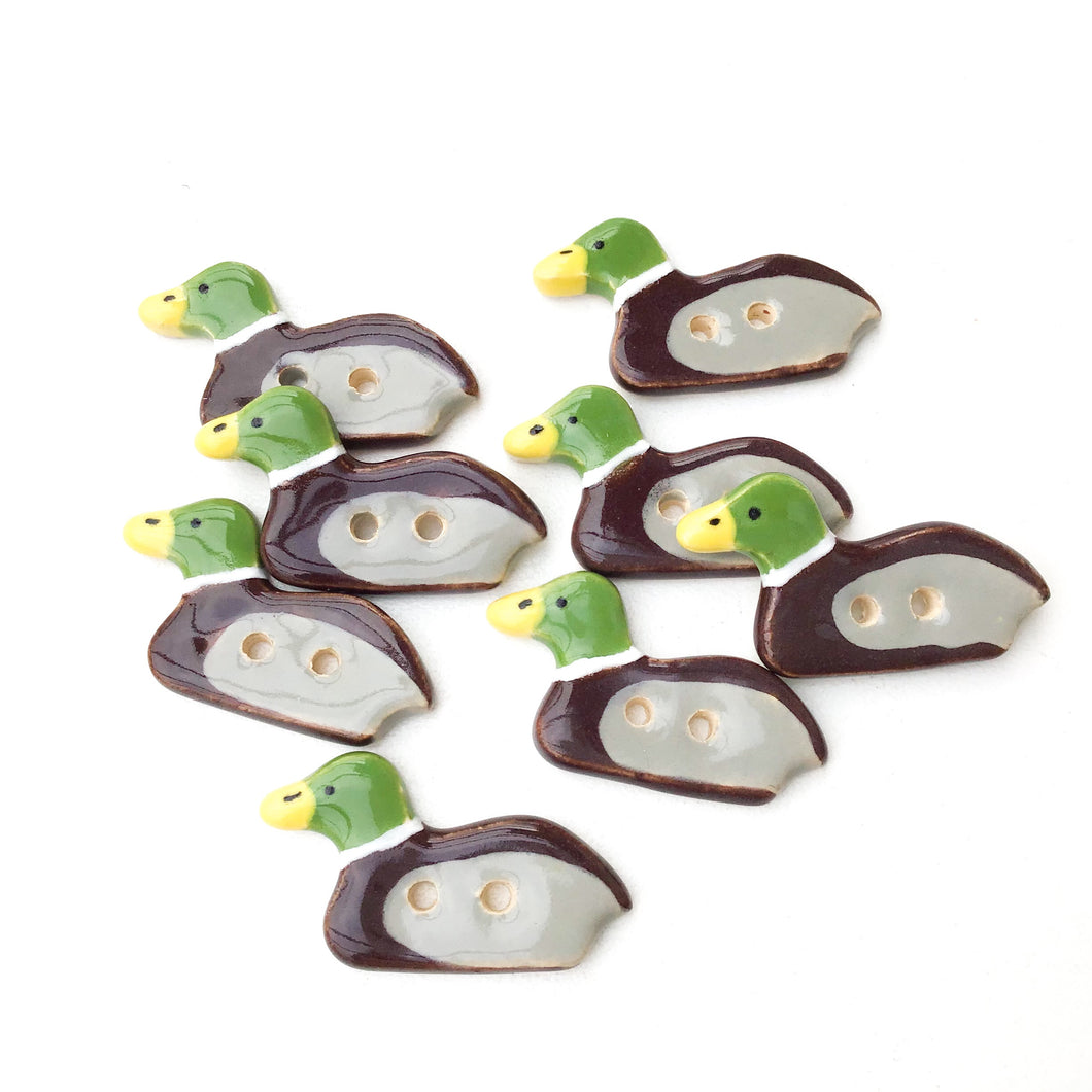 Mallard Duck Buttons - Ceramic Duck Buttons  (ws-125)