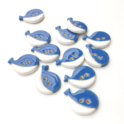 Blue & White Whale Buttons - Ceramic Whale Buttons (ws-7)