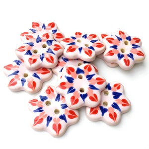 Soft Pink Flower Buttons with Red, Coral, & Blue Detail - Ceramic Flower Buttons - 1""