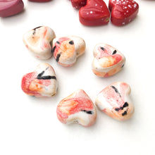 Load image into Gallery viewer, Ceramic Heart Beads - Handmade Clay Beads