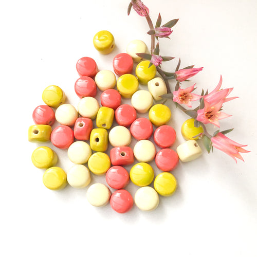 Round Handmade Clay Beads - Coral, Chartreuse, Light Yellow Ceramic Beads - 3/8