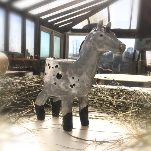 Appaloosa Horse Planter - Ceramic Horse Plant Pot