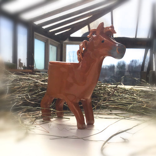 Little Brown Foal Horse Planter - Ceramic Horse Plant Pot