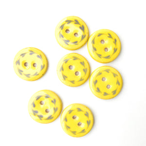 "Bright Yellow & Gray-Blue Floral Wreath Ceramic Buttons - Round Ceramic Buttons - 3/4"" - 7 Pack (ws-16)"