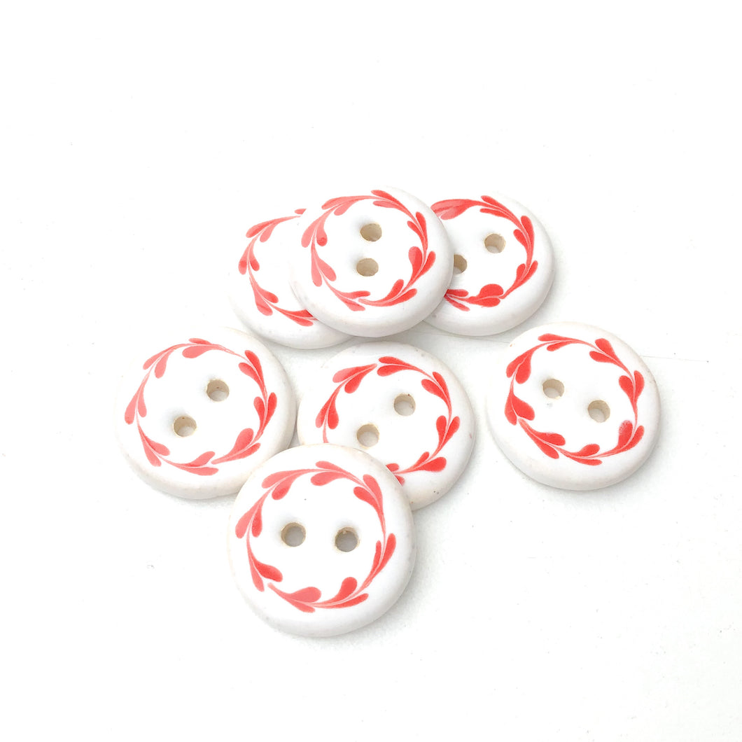 White & Red Floral Wreath Ceramic Buttons - Round Ceramic Buttons - 3/4